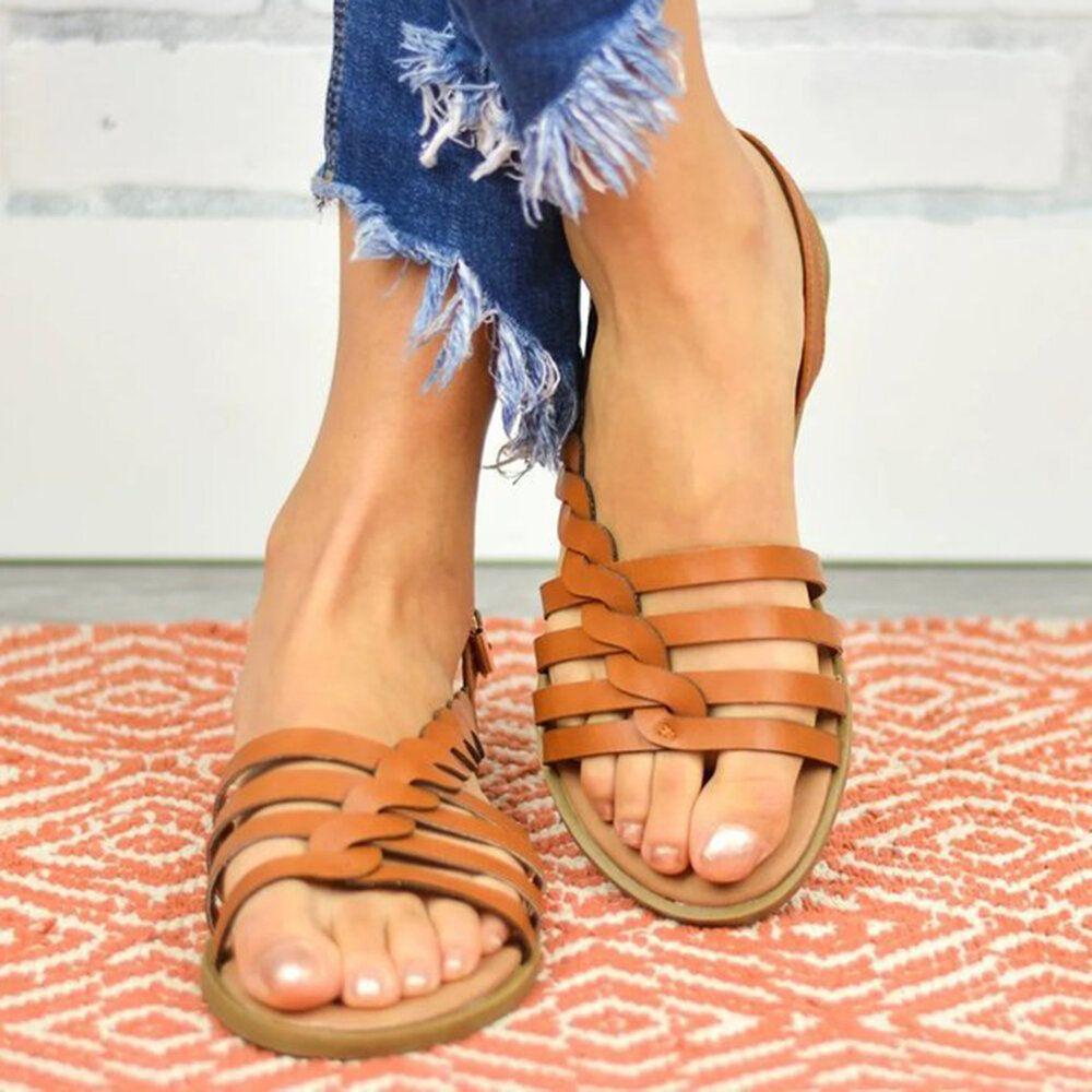 Women Large Size Braided Open Toe Summer Beach Flat Sandals