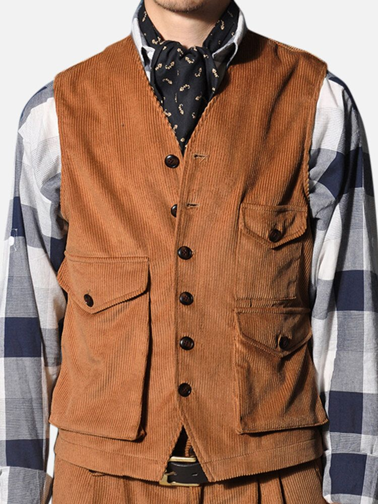 BDD US$33.32 Mens Retro Corduroy Vest Multi Pockets Sleeveless Coat Tops