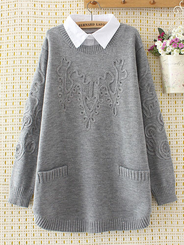 Casual Lapel Pockets Sweaters