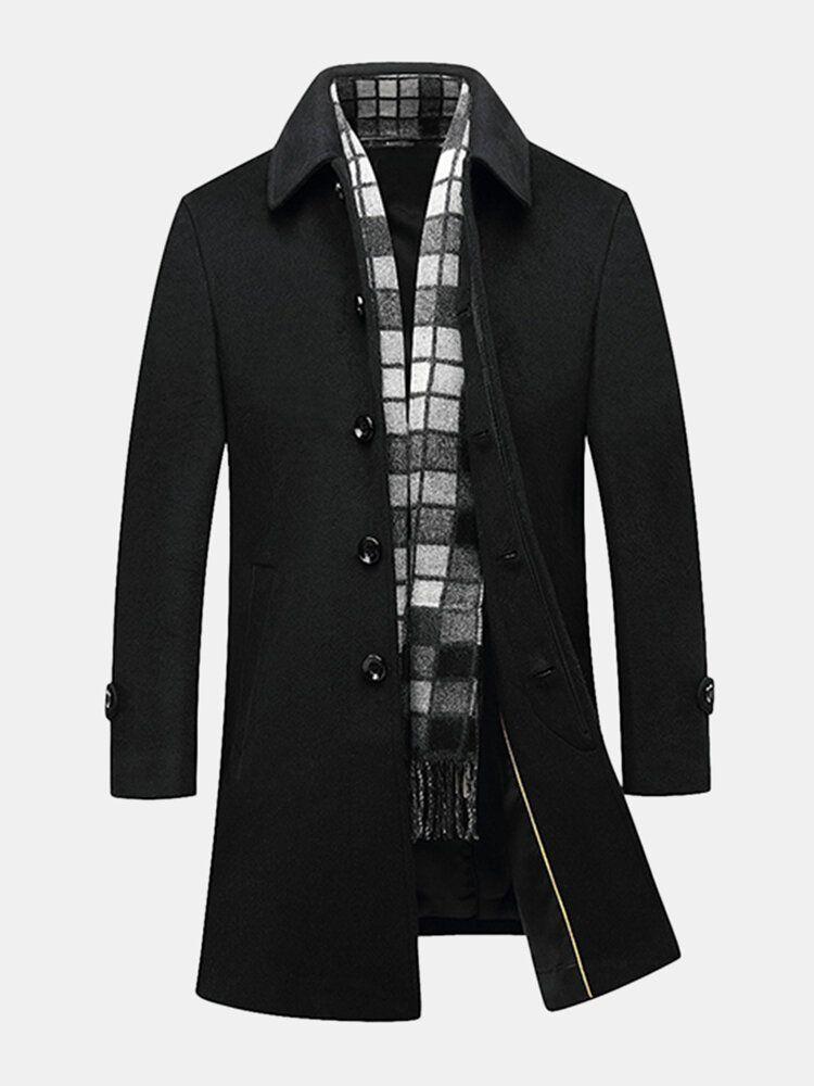Black Business Stylish Woolen Overcoat Mid Long Trench Coat