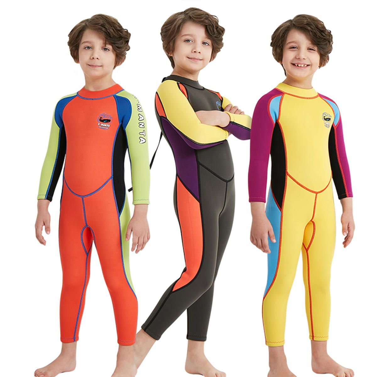 Kids Boy Scuba One piece Diving Suit UV Protection Thermal Snorkeling Wetsuit Surfing Swimwear