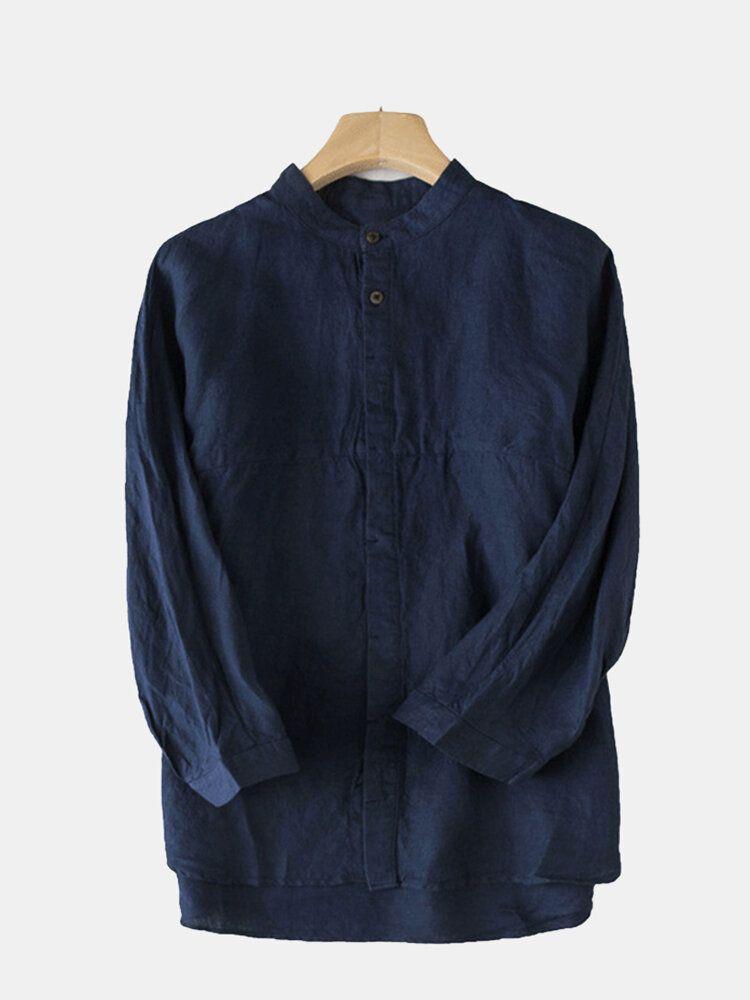 Mens Casual Comfy Cotton Vintage Style Plus Size Shirts