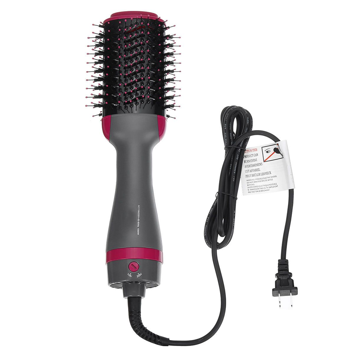 110V / 220V 2 In 1 1000W Hair Dryer Blower Brush Comb Volumizer Straightening Curling Smoothing Comb Hair Drying Styling Tool