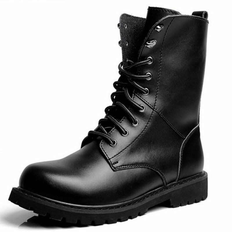Men's Winter Keep Warm Waterproof Non Slip Black Combat PU Leather Lace Up Jungle Hiking Snow Boots