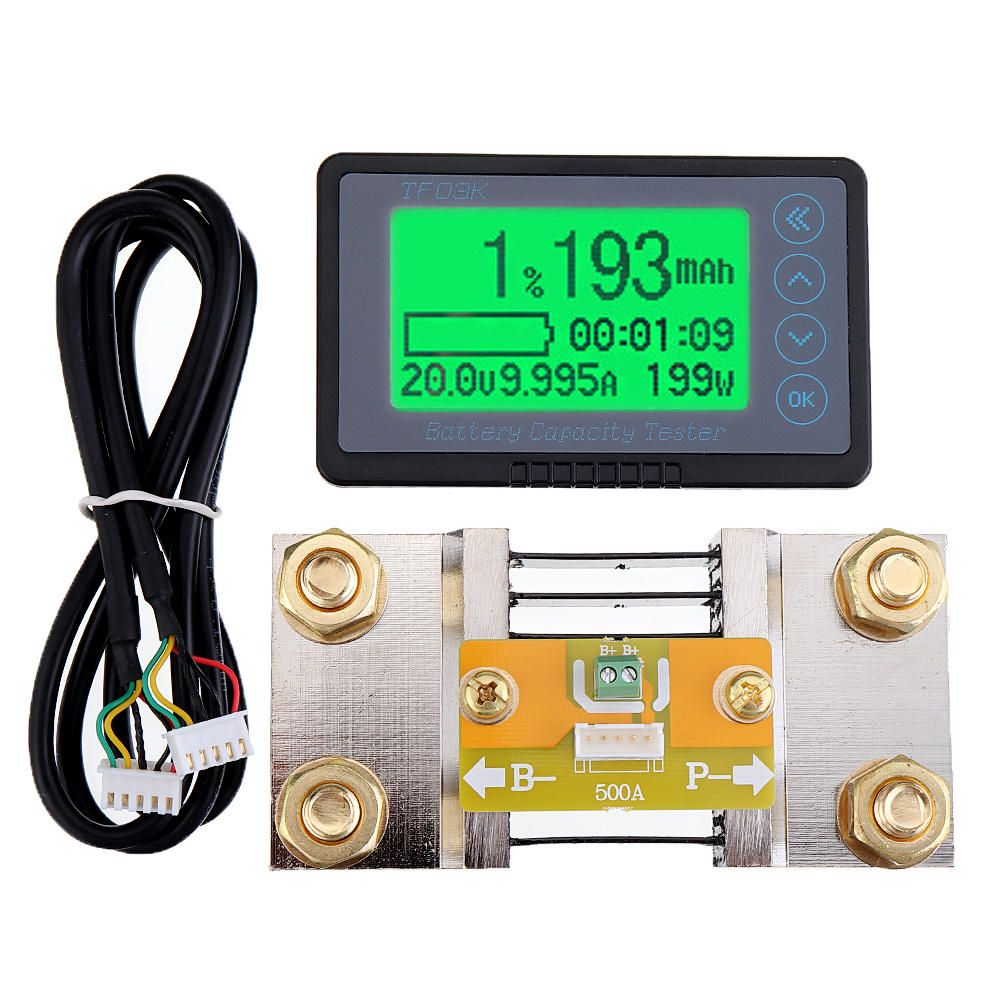 HHX US$62.06 TF03K 100V500A Coulomb Counter Meter Battery Capacity Indicator Voltage Current Display TTL232 Li-ion Lithium lifepo Lead Acid eBike RV with 1M Shielded Cable