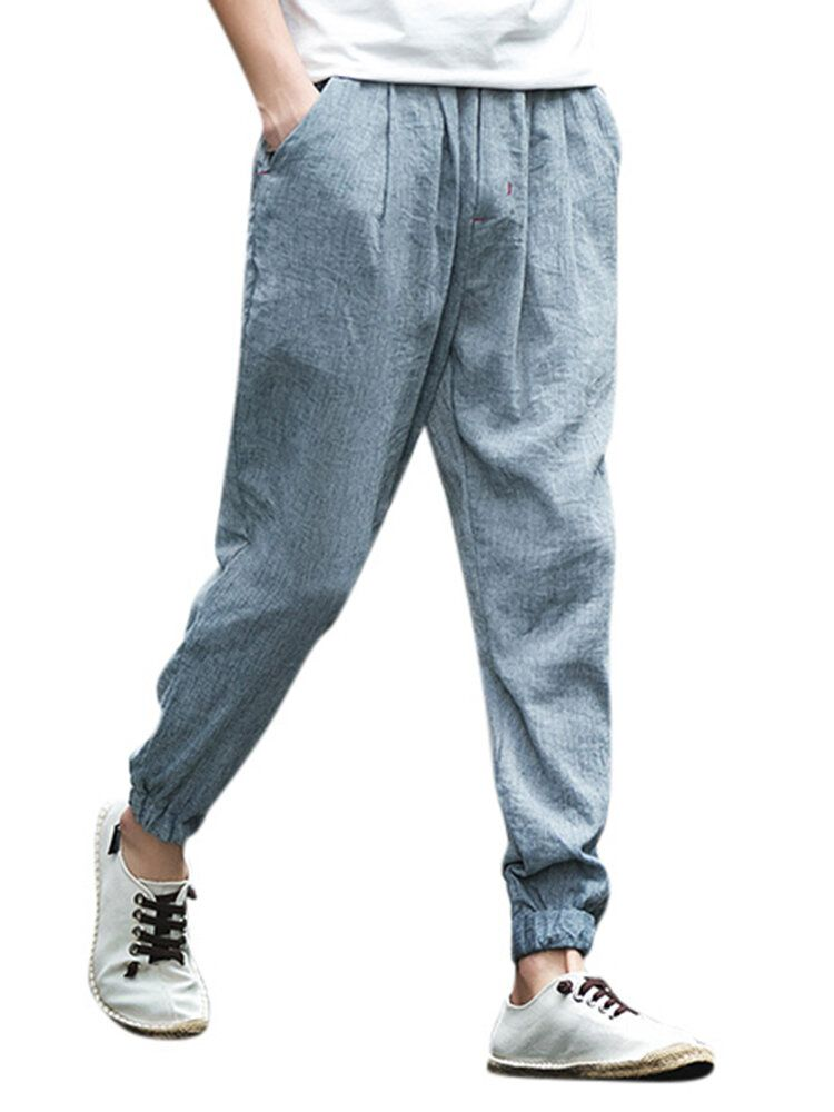 Mens Summer Cotton Linen Breathable Drawstring Solid Color Casual Pants