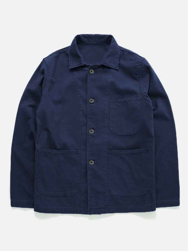 Mens Cotton Chest Pocket Design Vintage Jacket