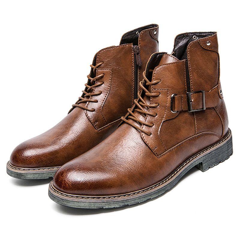Men Retro Non slip Casual Leather Boots