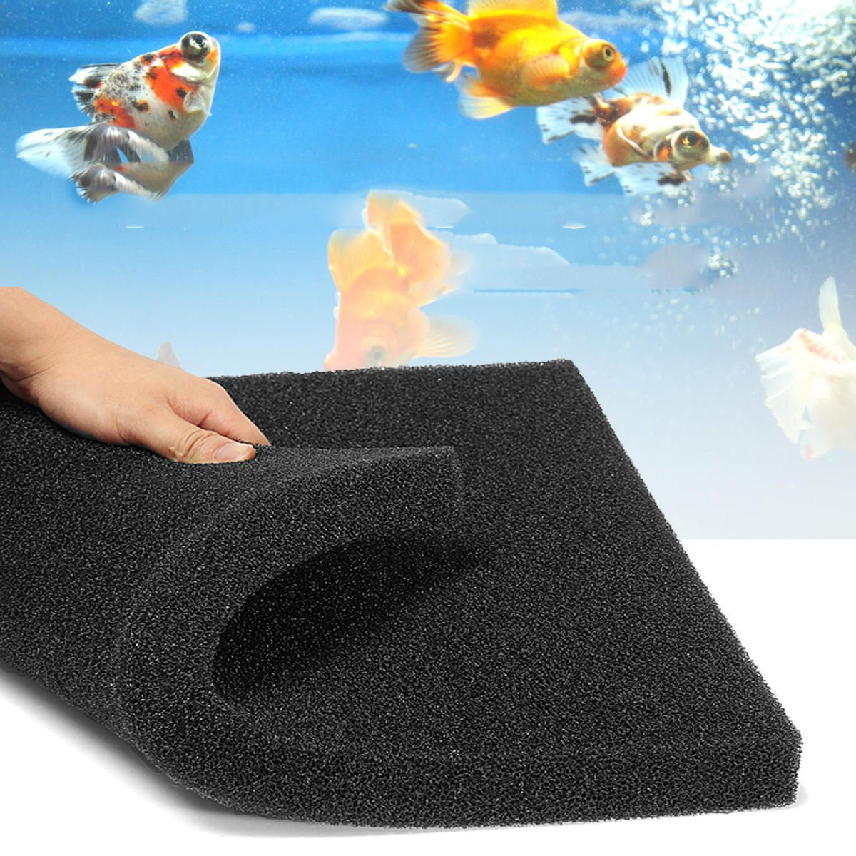 UKB US$7.18 1PCS  Biochemical Filter Foam Fish Pond Filtration Tank Aquarium Sponge Pad Aquarium Filter 50cm