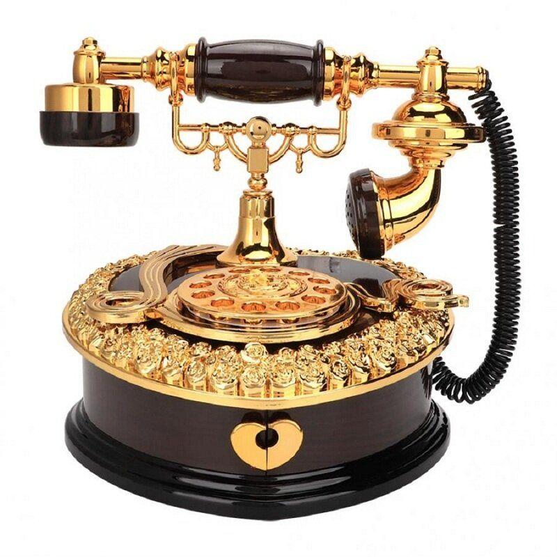Retro Heart Shaped Telephone Model Music Box Home Ornament Decoration Music Box Toy