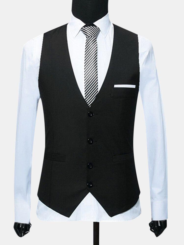 Men Formal Business Waistcoat Slim Single Breasted Suit Vest