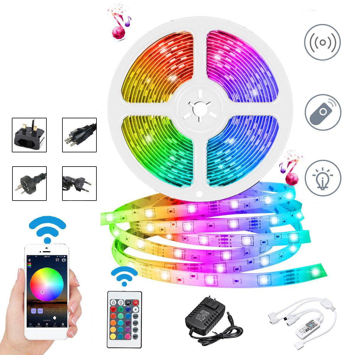 DC12V 10M Non waterproof DIY 2835 RGB WiFi Smart 600LED Strip Light Work With Alexa Google Home for Home Decor
