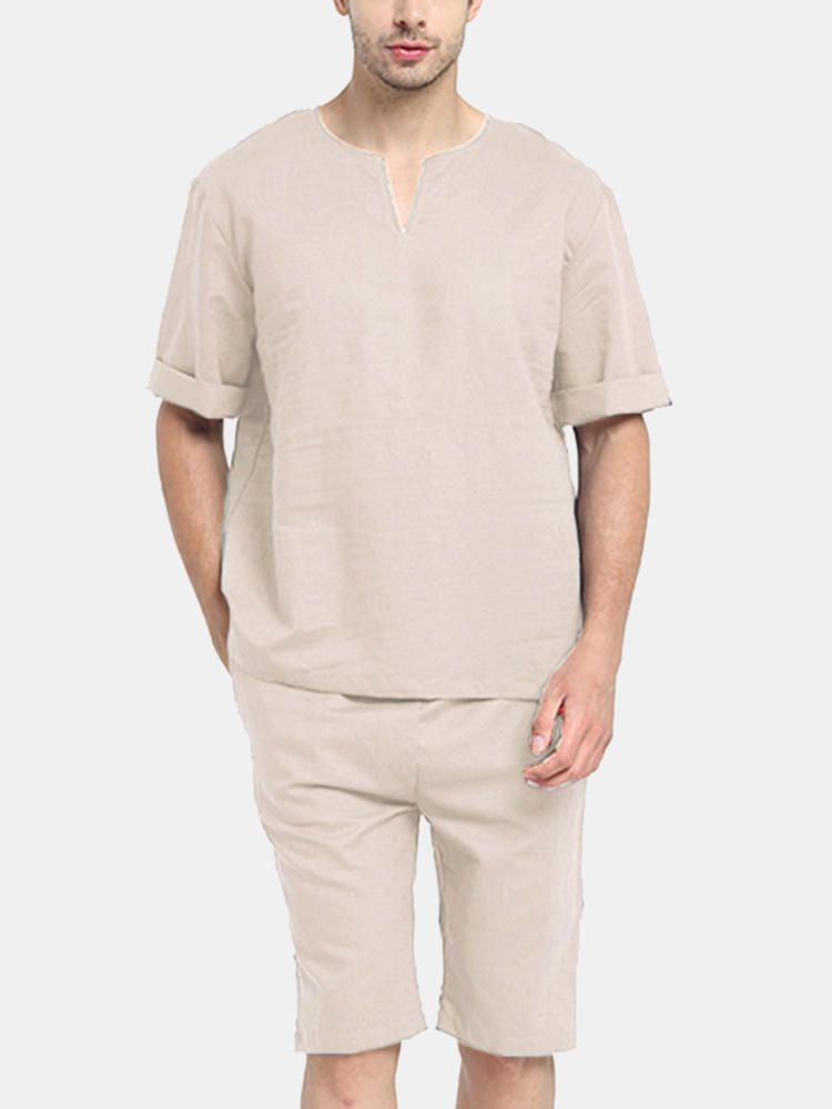 Mens Casual Comfort Pajamas Set Sleepwear