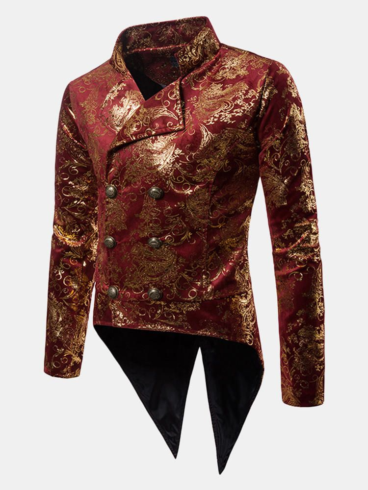 Bronzing Flower Printing Tuxedo Dress Suit Party Show Blazer