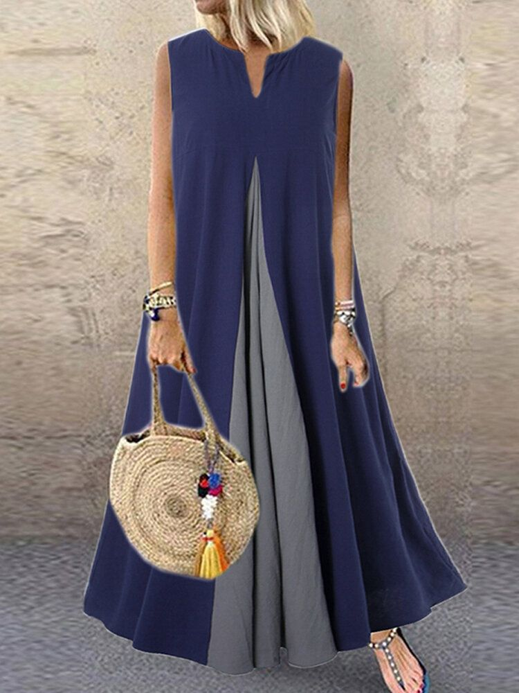 Sleeveless V Neck Side Pocket Stitching Maxi Dress