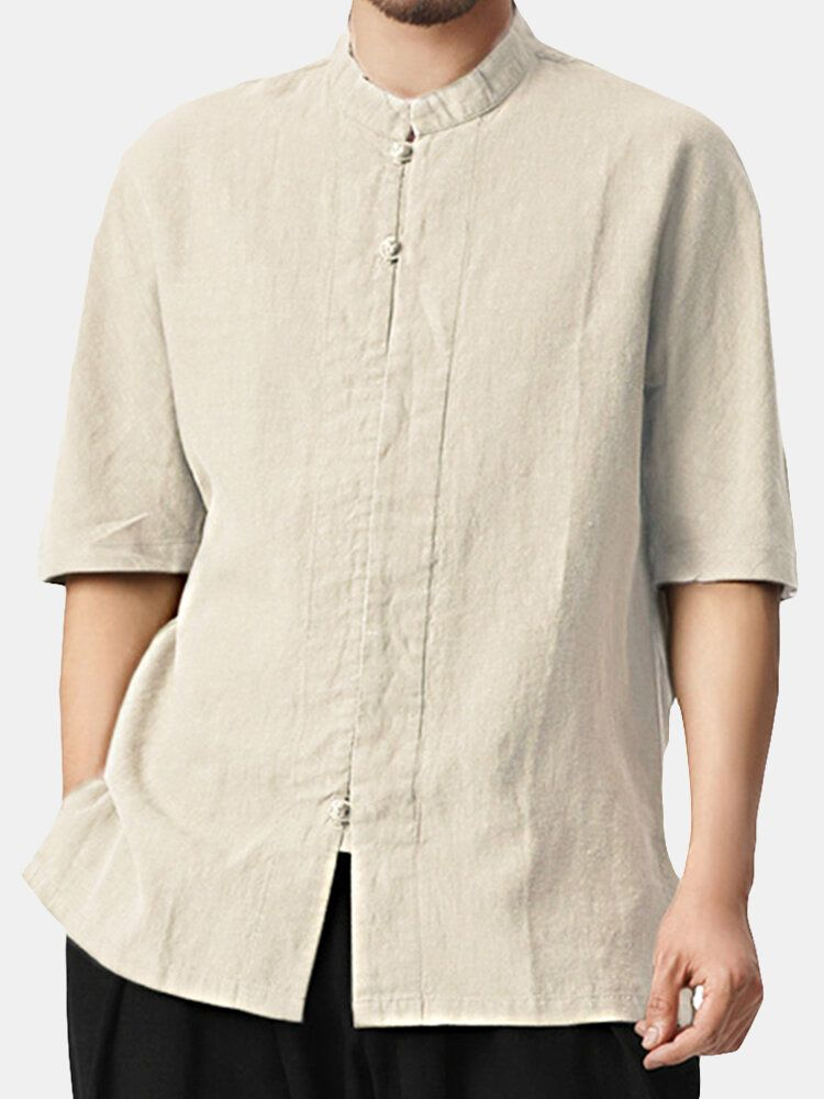 TWO SIDED Vintage Chinese Style Loose Mandarin Collar Shirts