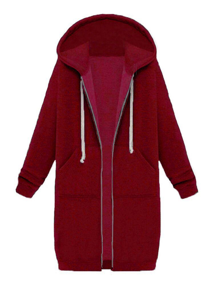 Casual Women Long Sleeve Pockets Zip Up Hooded Sweatshirt