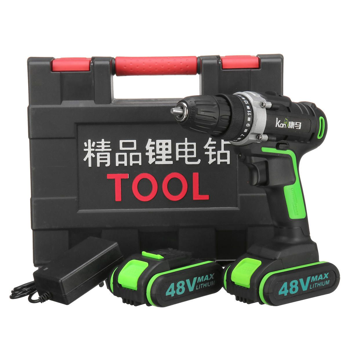48V 3 In 1 Cordless Power Drills 15+1 Torque Drilling Tool Dual Speed Electric Screwdriver Drill W/ 1 or 2 Li ion Battery
