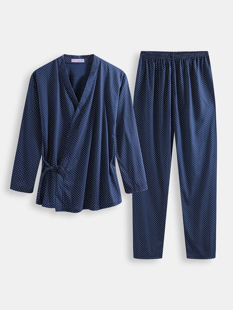Men Polka Dot Kimono Robe Set Thin Loose Breathable Home Cas