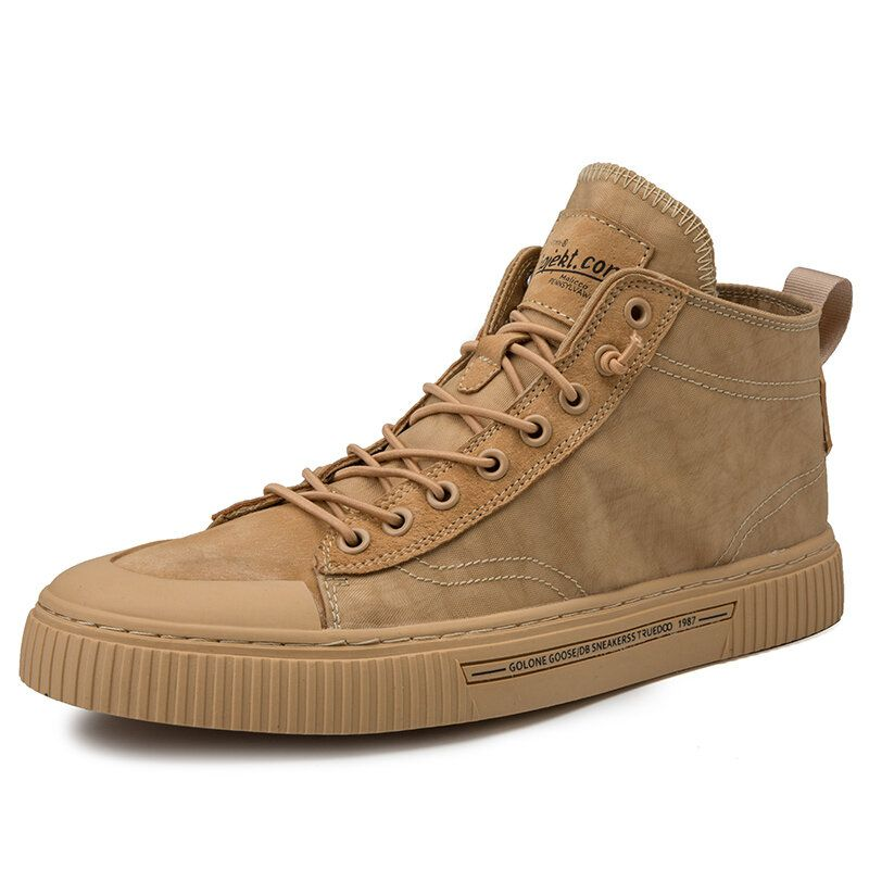 Men Vinatge Leather Splicing Elastic Lace Up Comfy Casual Ankle Boots
