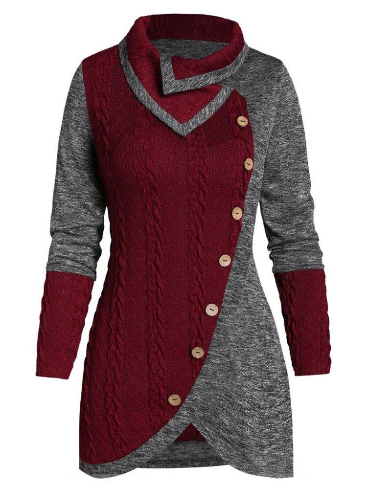Women Irregular Patchwork Button Knit Sweaters