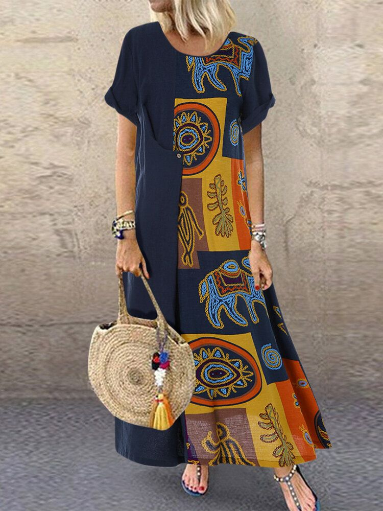 Vintage Ethnic Print Patchwork Short Sleeve Plus Size Dress