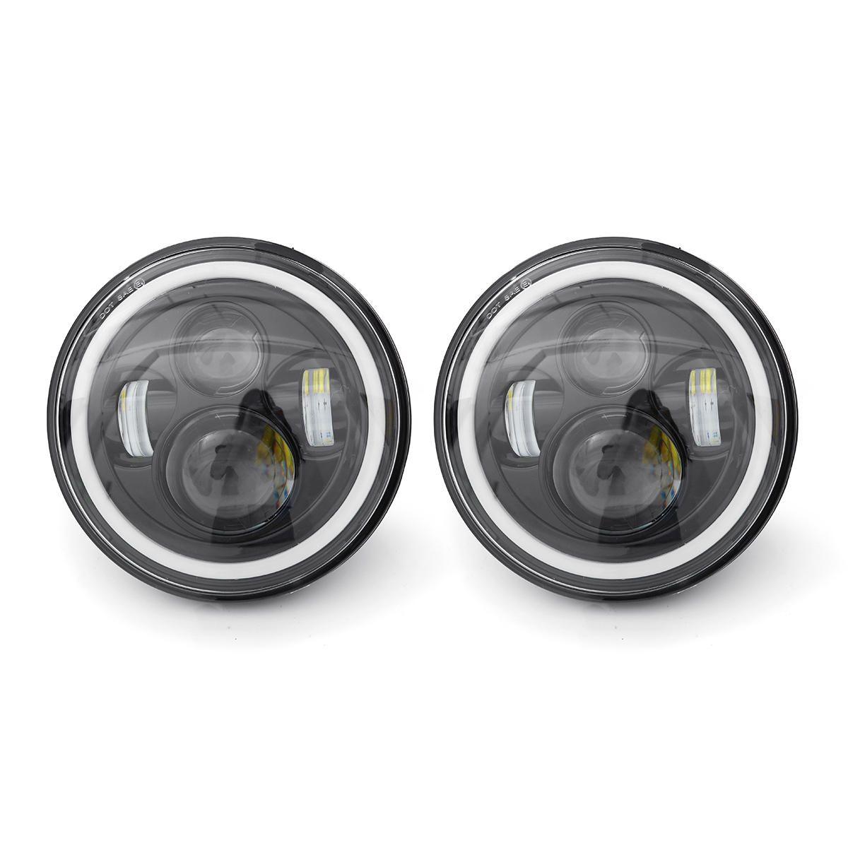 2pcs 7 Inch LED Headlights White/Yellow Light Beam Halo Angle Eye For Jeep Wrangler JK TJ LJ