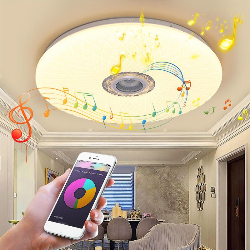 60W Smart LED Ceiling Light RGB bluetooth Music Speaker Dimmable Lamp APP Remote