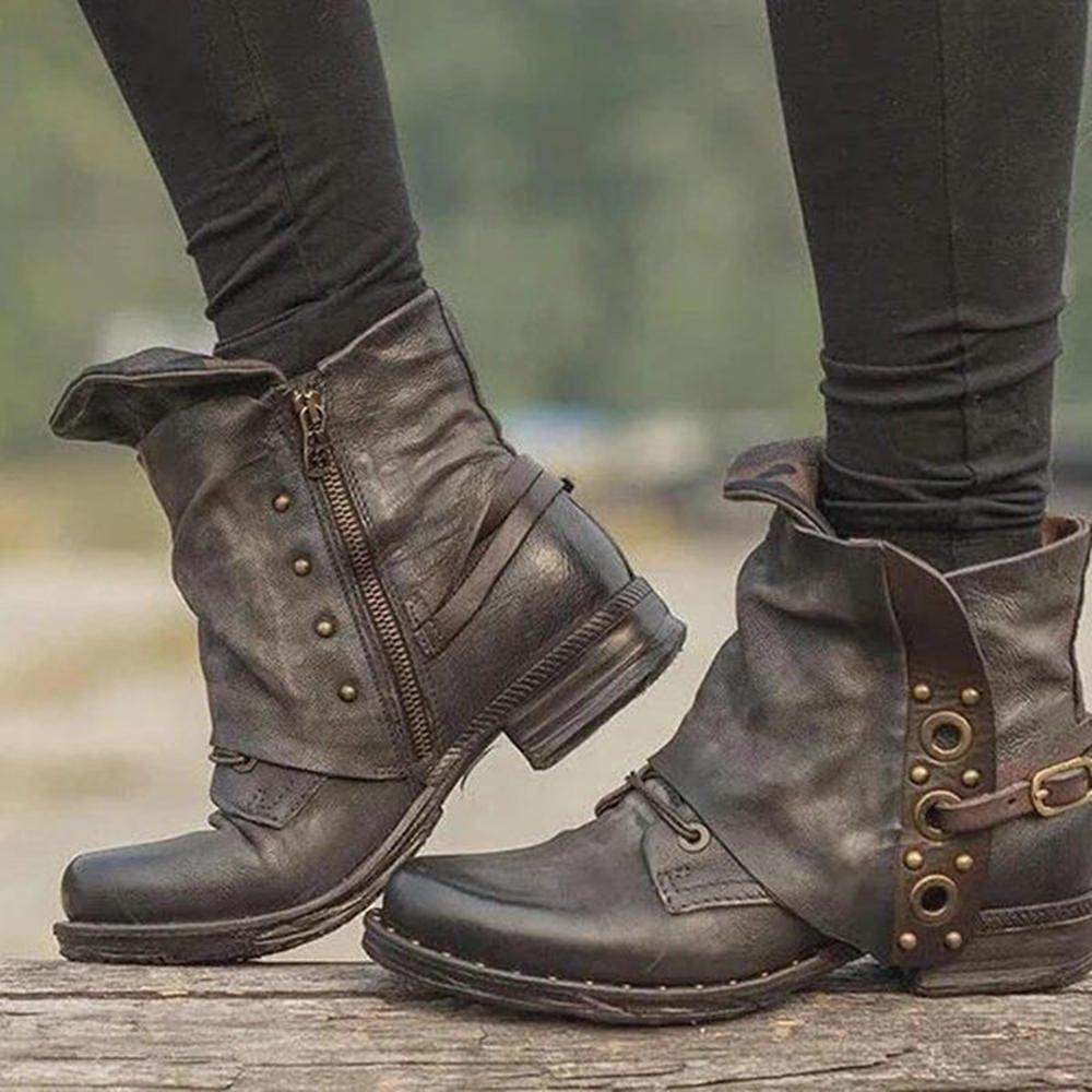 Rivet Buckle Decoration Zipper Leather Ankle Boots
