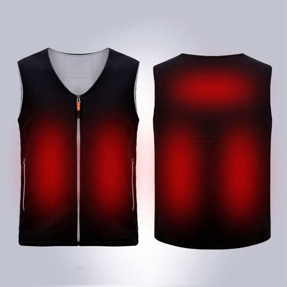 QYF US$31.19 Electric USB Heated Fleece Jacket Warm Graphene Carbon Fiber Men Women Rechargeable Heating Coat Racing