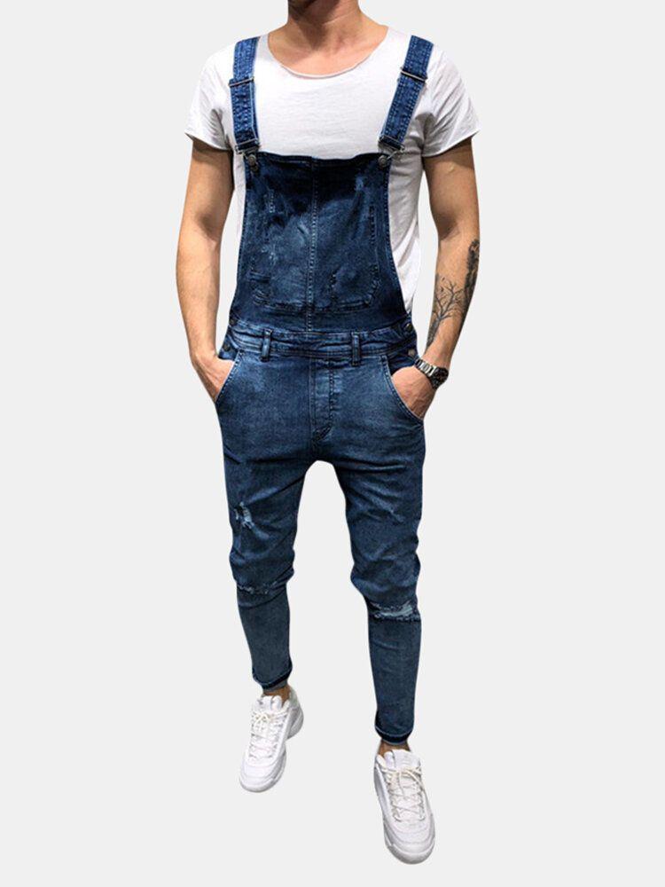 Denim Overalls Suspenders Ripped Jeans for Men