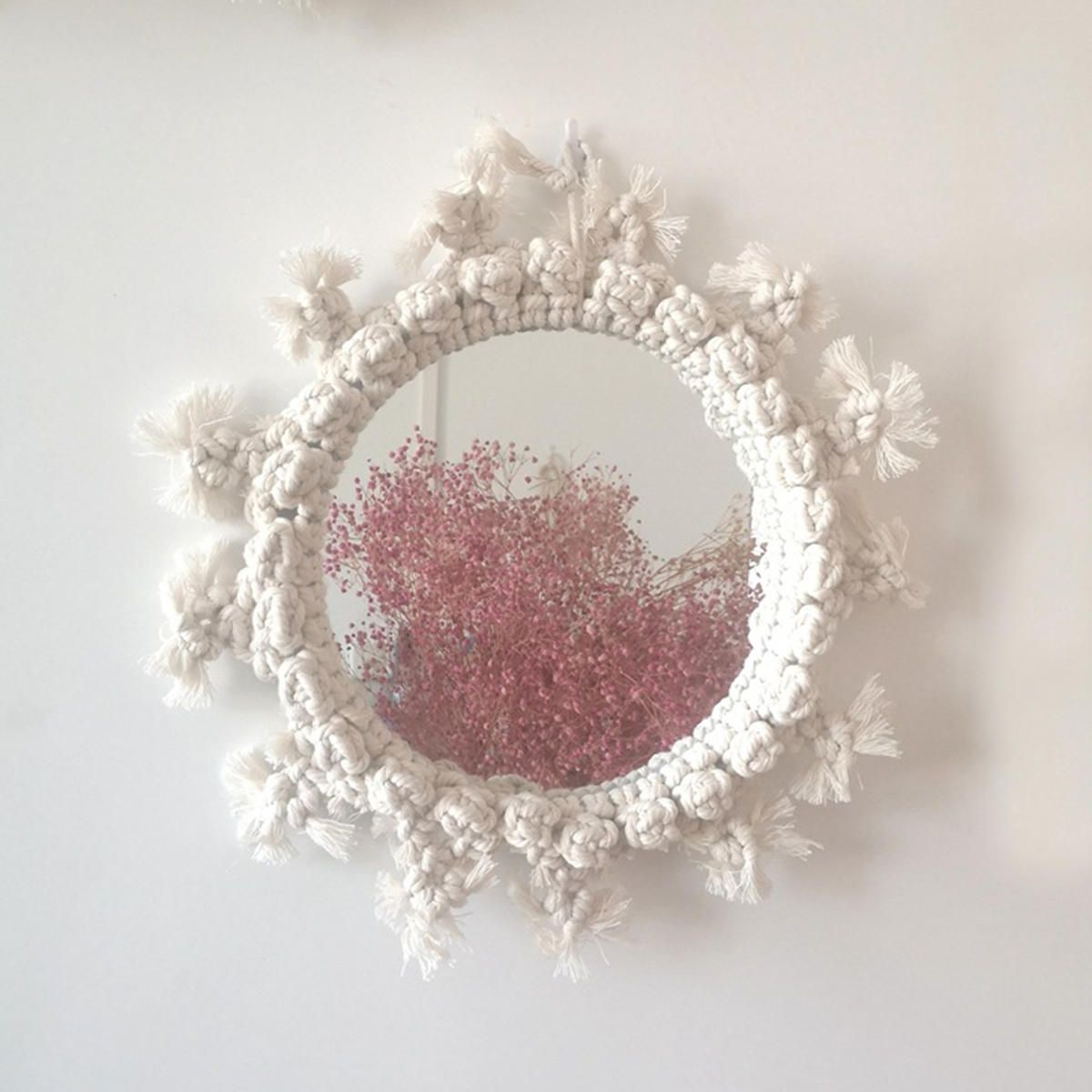 Rattan Innovative Art Decoration Round Makeup Mirrors Dressing Bathroom Wall Hanging Mirror With Macrame