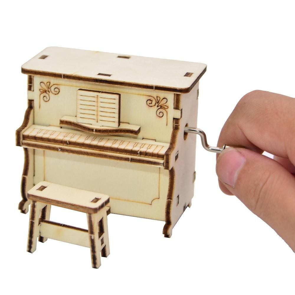 DIY Hand assembled Music Box Creative Piano Hand operated Music Box for Children