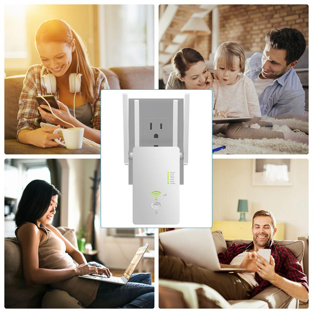 AC1200Mbps 5.8GHZ&2.4GHZ Dual Band Four Antenna Hot Wifi Repeater Wireless Router Range Extender Signal Booster