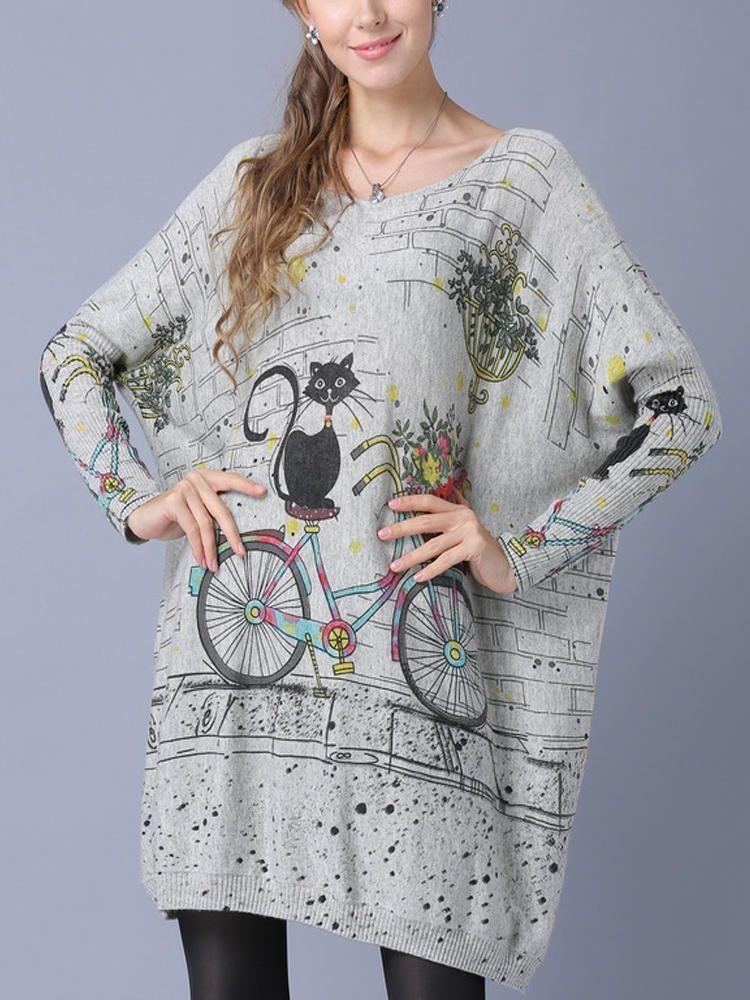 Plus Size Cartoon Cat Print Batwing Sleeve Sweaters