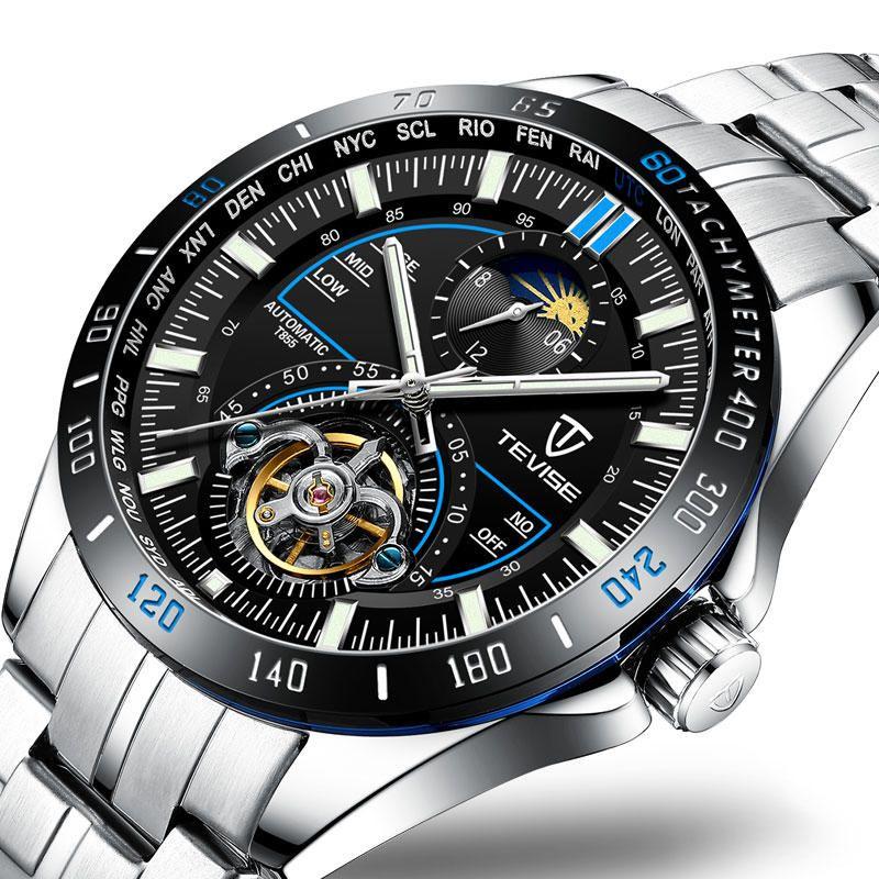 TEVISE T855 Waterproof Full Steel Automatic Mechanical Watch Business Style Men Watch
