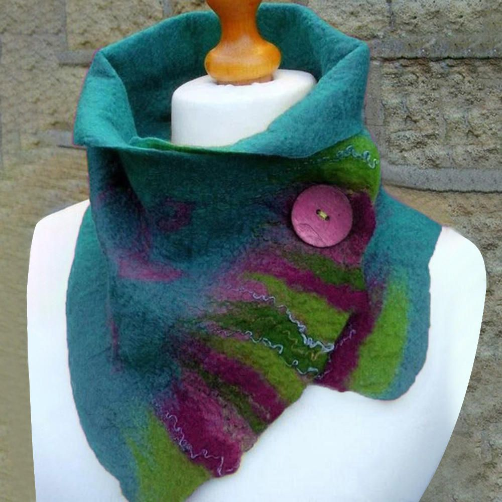 Women's Green Vintage Plain Scarves & Shawls