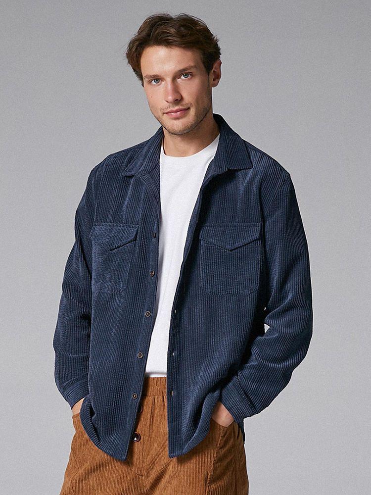 Mens Vintage Corduroy Big Chest Pocket Solid Color Shirts