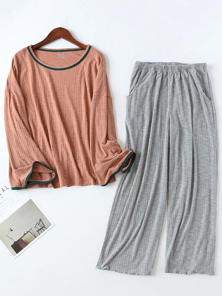 Plus Size Long Sleeve Loungewear Casual 2 Piece Textured Cotton Pajama Set