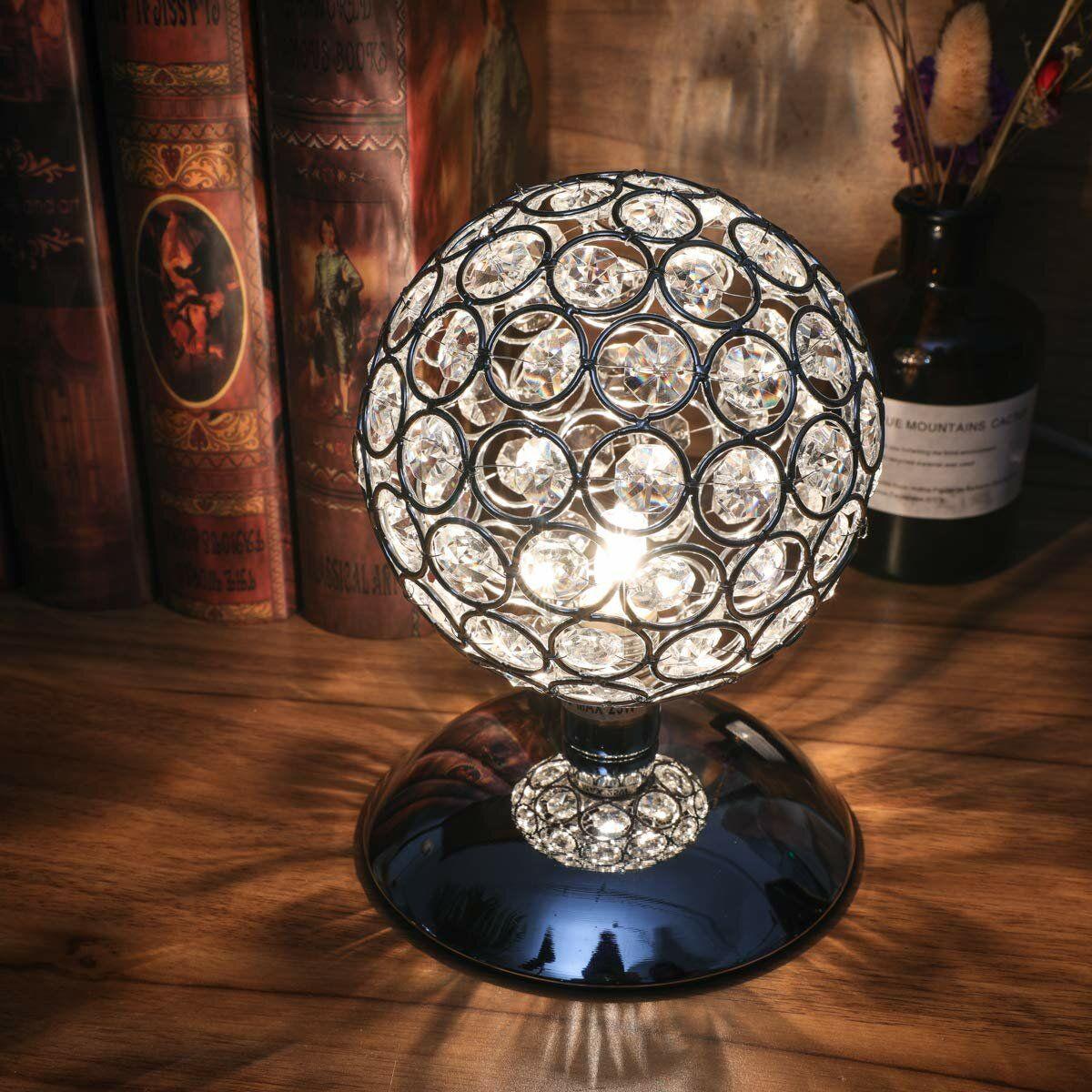 Modern Crystal Ball Table Lamp Night Light Bedroom Bedside Desk Lamp Touch
