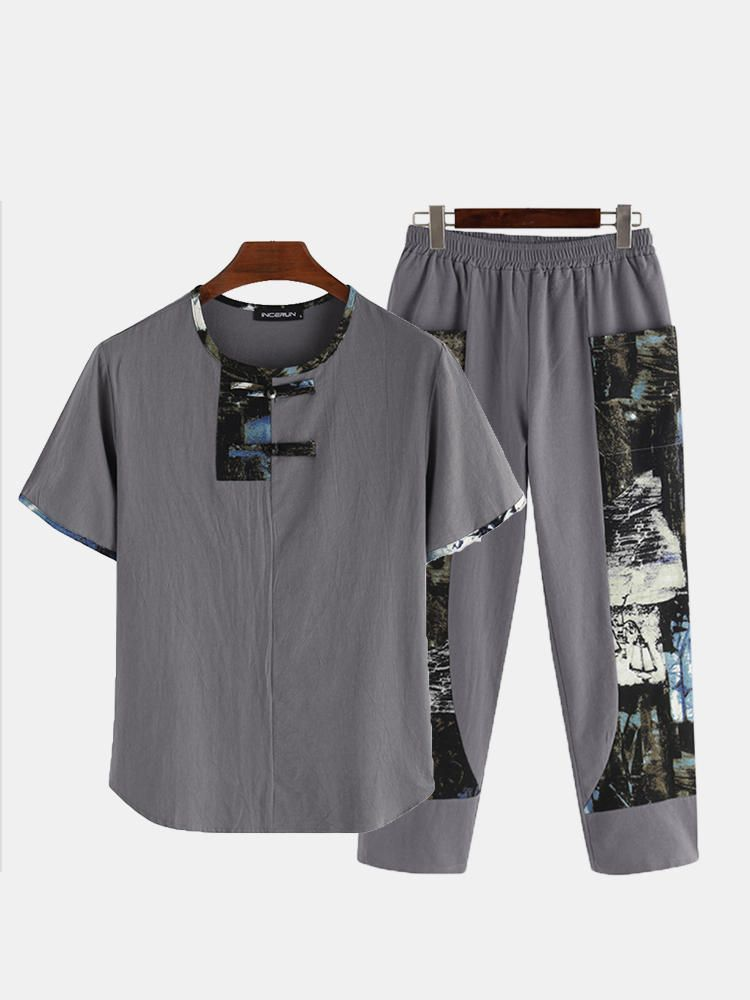 Mens Casual Crew Neck Set Printing Elastic Waist Home Suit