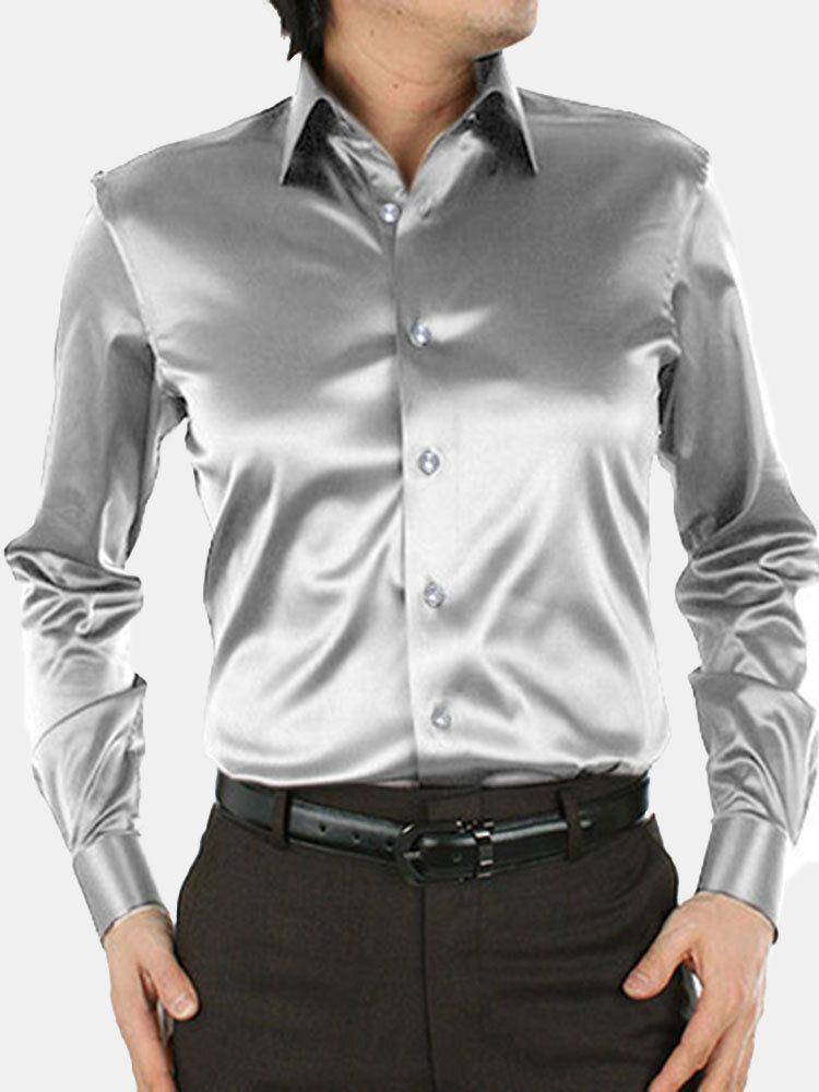 Men Fashion Simulated Silk Satin Pure Color Long sleeved Lapel Shirts