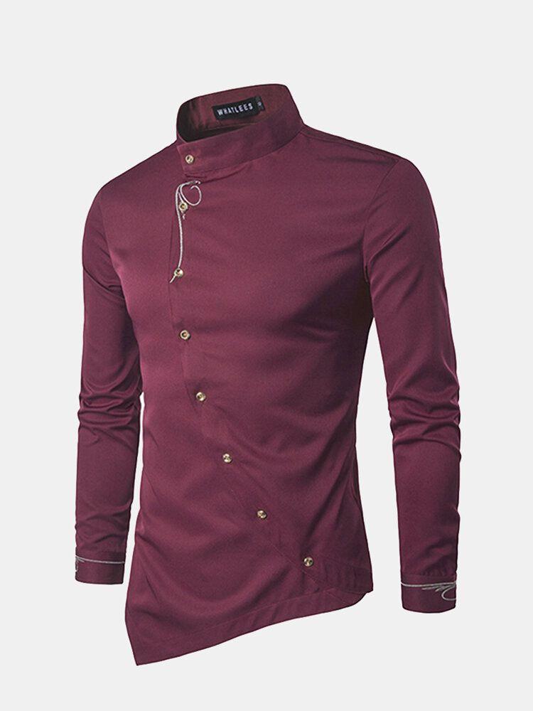 Mens Embroidery Irregular Hem long Sleeve Shirts