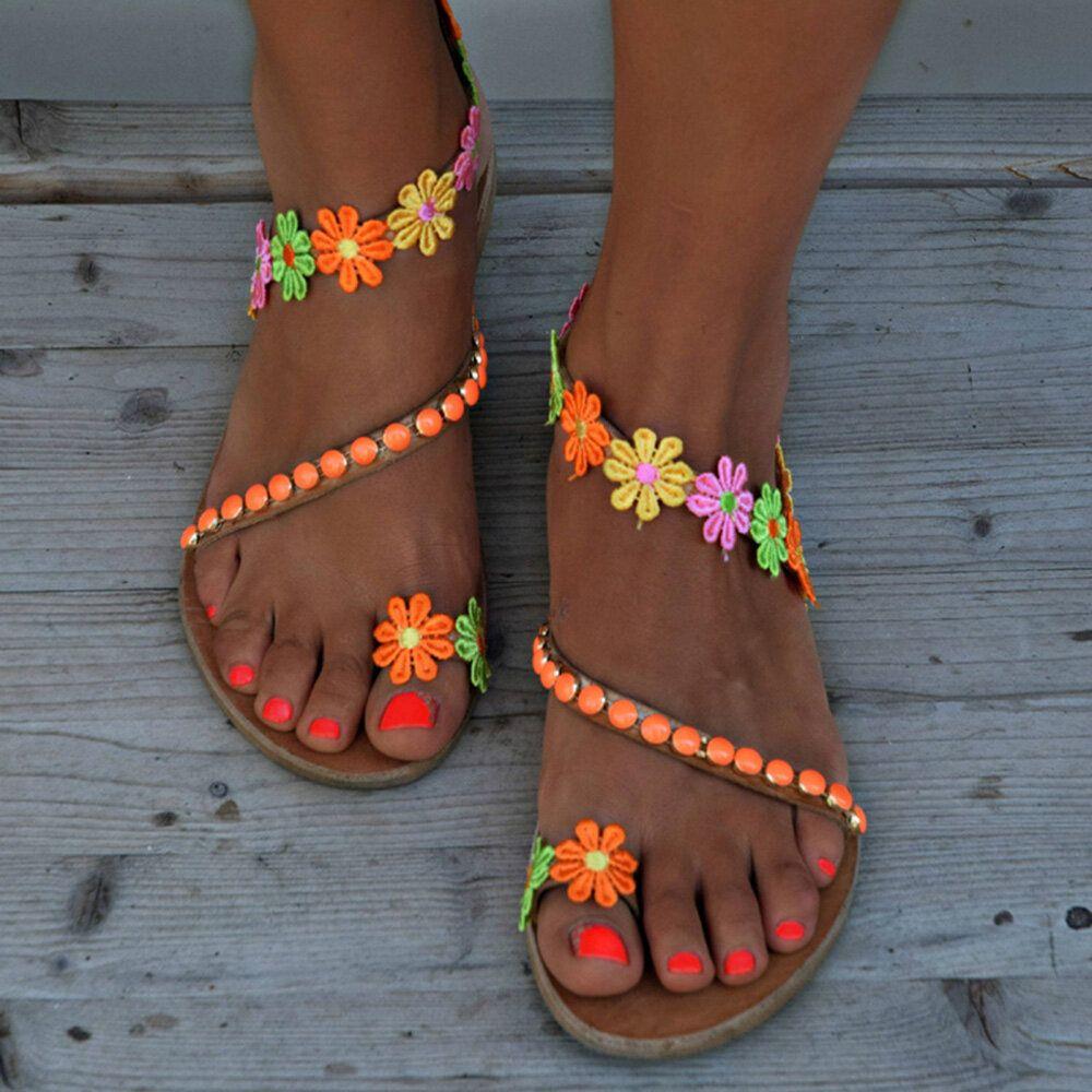 Women Bohemian Flower Bead Slip On Summer Sandals