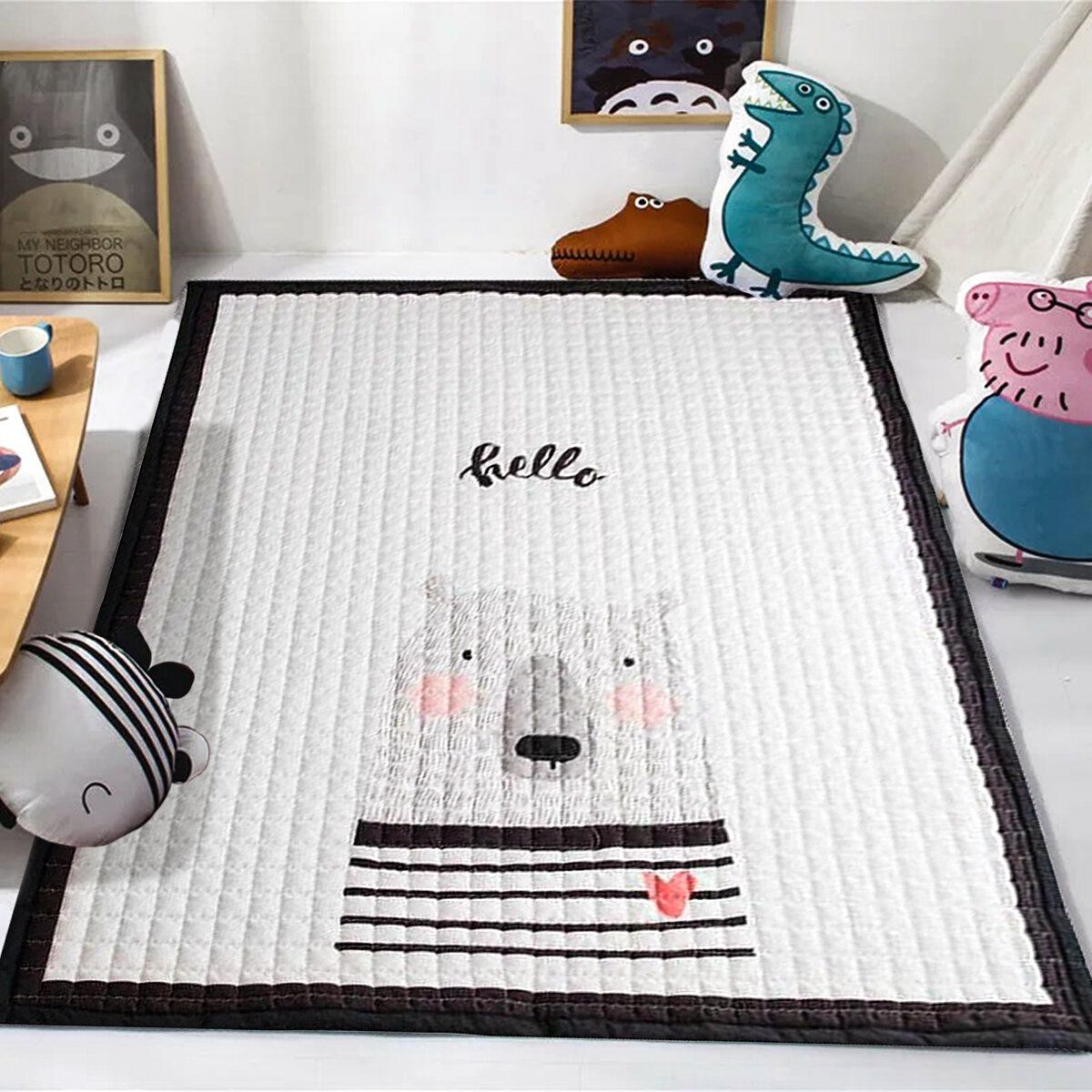 145*195CM Soft Cotton Baby Kid Game Activity Play Crawling Mat Carpet Non Slip Floor Mat