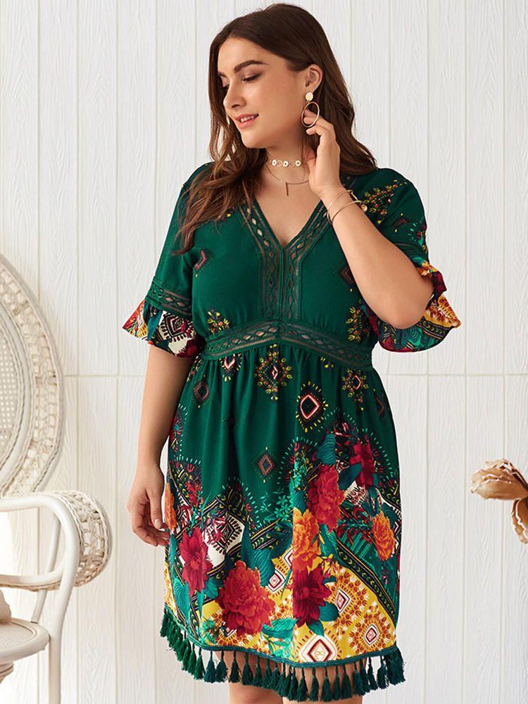 QTR US$26.24 Bohemian Floral Tassel Empire Waist V-neck Plus Size Dress