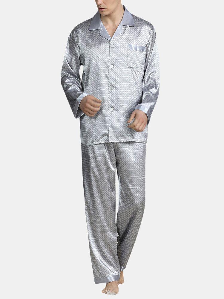 Smooth Silk Lepal Collar Pajamas Set