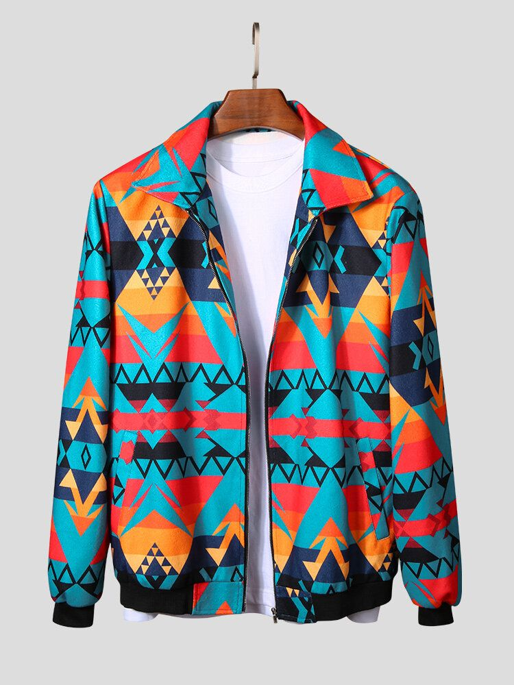 Mens Autumn Colorful Printing Zipper Long Sleeve Jacket