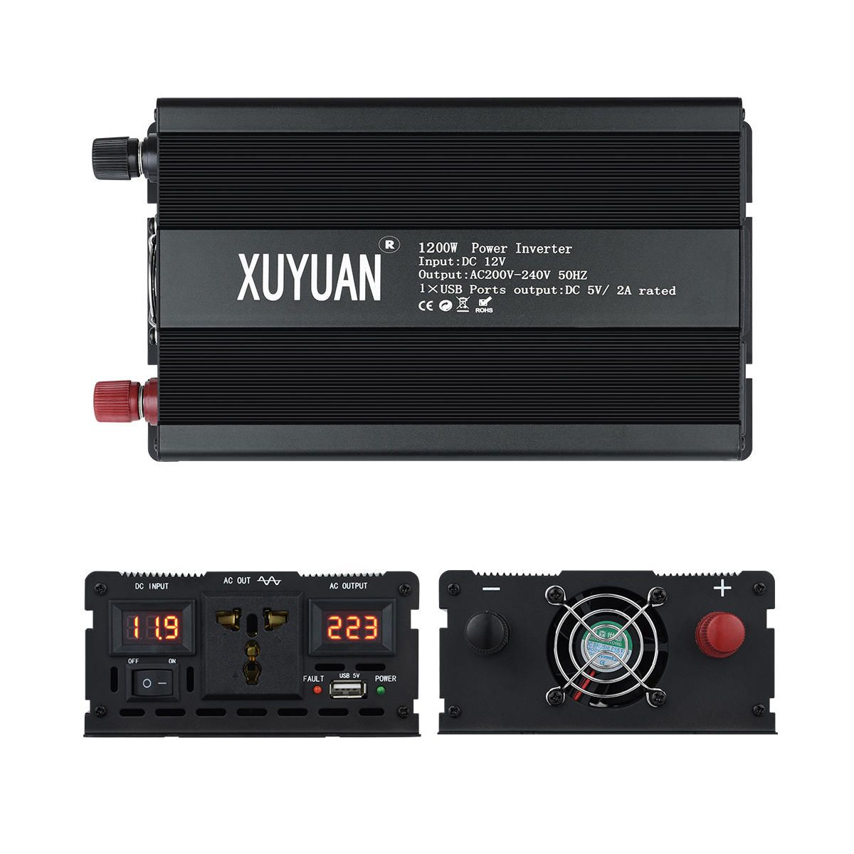 UTM US$84.01 Universal Socket 1200W Display Inverter DC12V/24V to AC 220V Pure Sine Wave Power Inverter