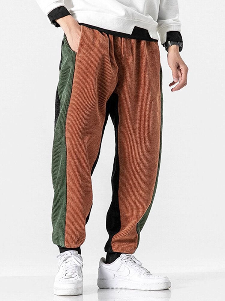 Mens Corduroy Vintage Pure Color Elastic Waist Casual Pants